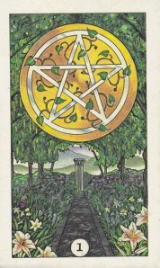 A favorite card: the Ace of Pentacles from the Robin Wood Tarot.
