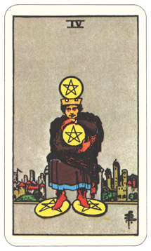 Waite-Smith Four of Pentacles