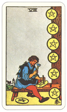 Waite-Smith Eight of Pentacles