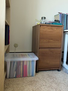 File box and file cabinet.