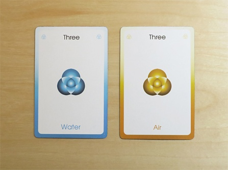 Three of Water and Three of Air from the Orbifold Tarot