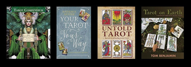 Book covers: Tarot Compendium, Your Tarot Your Way, Untold Tarot, Tarot on Earth