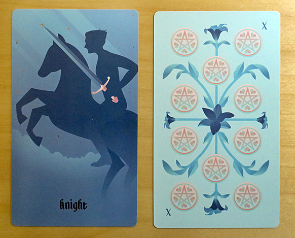 Knight of Swords and Ten of Coins tarot cards