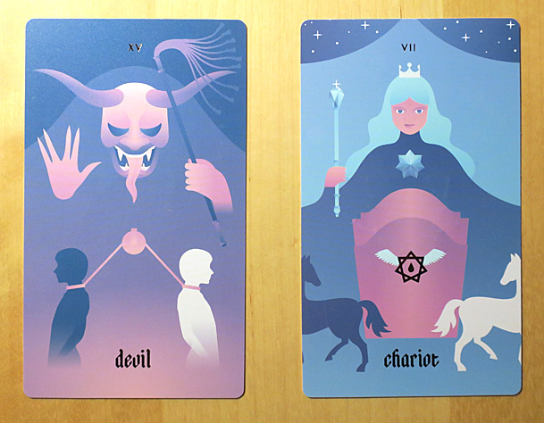 Devil and Chariot tarot cards