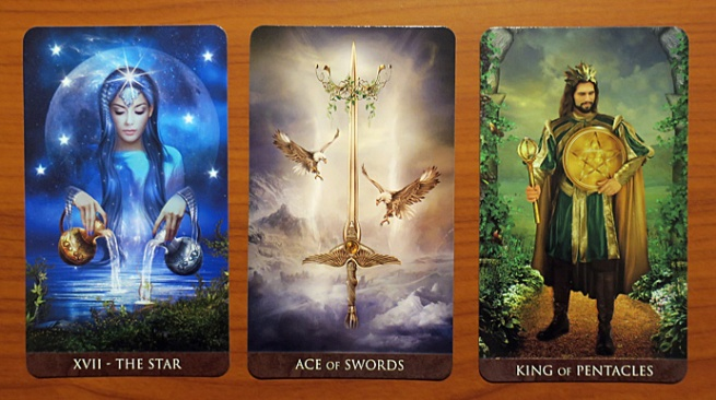 Arcanum Tarot: The Star, Ace of Swords, King of Pentacles
