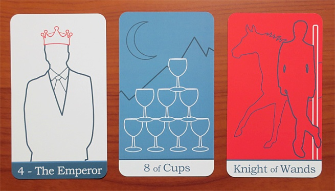 Simple Tarot: The Emperor, Eight of Cups, Knight of Wands