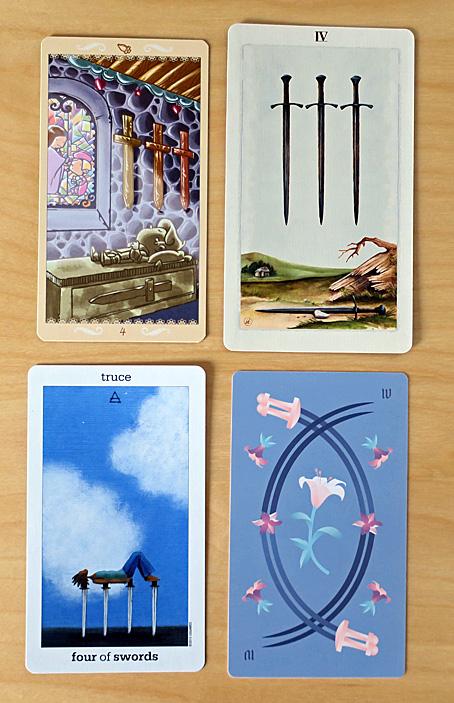 4 Four of Swords tarot cards