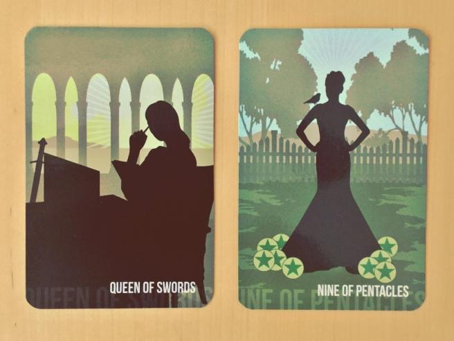 Queen of Swords and Nine of Pentacles tarot cards