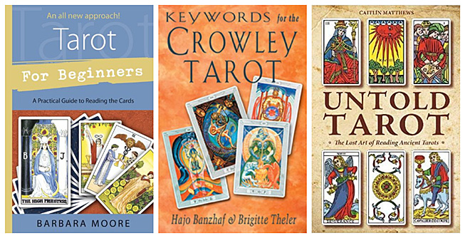 Book covers: Tarot for Beginners, Keywords for the Crowley Tarot, Untold Tarot